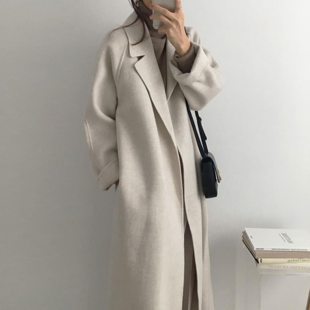 Aachoe Frauen Elegante lange Wollmantel mit Gürtel Feste Farbe Langarm Chic Oberbekleidung Damen Mantel Herbst Winter 2020 Q1219