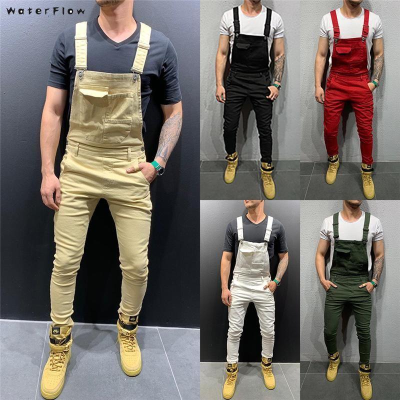 2020 мода ретро дизайн тонкий черный синий джинсовый комбинезон измельченные хлопковые джинсы джинсовые джинсовые джинсы мужские нагрудники комбинезон джинс брюки