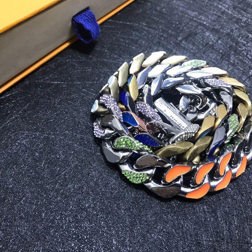 Collana unisex Collana in argento a colori luminosi a due syle Tutto in acciaio realizzato in diamante collane a catena in argento per fornitura di gioielli regalo