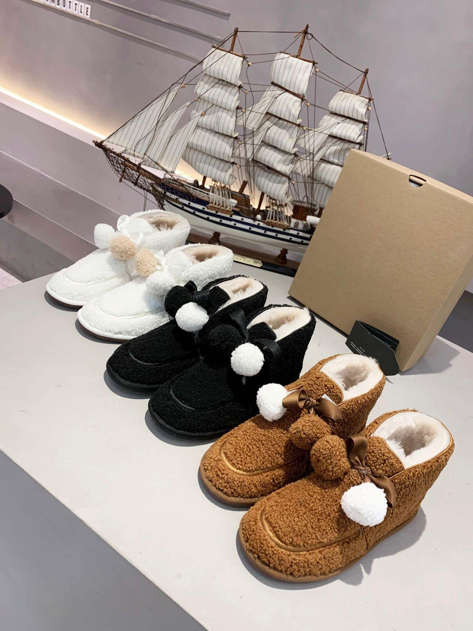 2020 filles de vente à chaud bottes de neige l'hiver casual femmes créateurs de mode appartements chaussure dame en plein air moitié chaud fourrure douce casual botte marron # U26