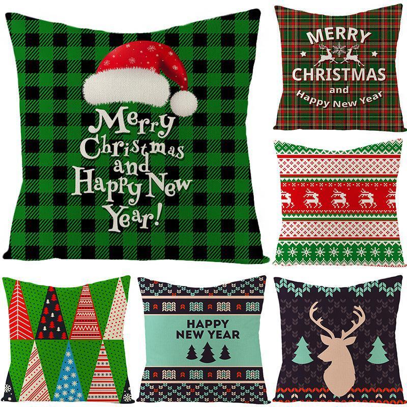 45 * 45cm Funda de almohada de Navidad Decoración para el hogar Santa Claus Navidad ciervos de algodón de lino del amortiguador de la cubierta Decoración BEB2937
