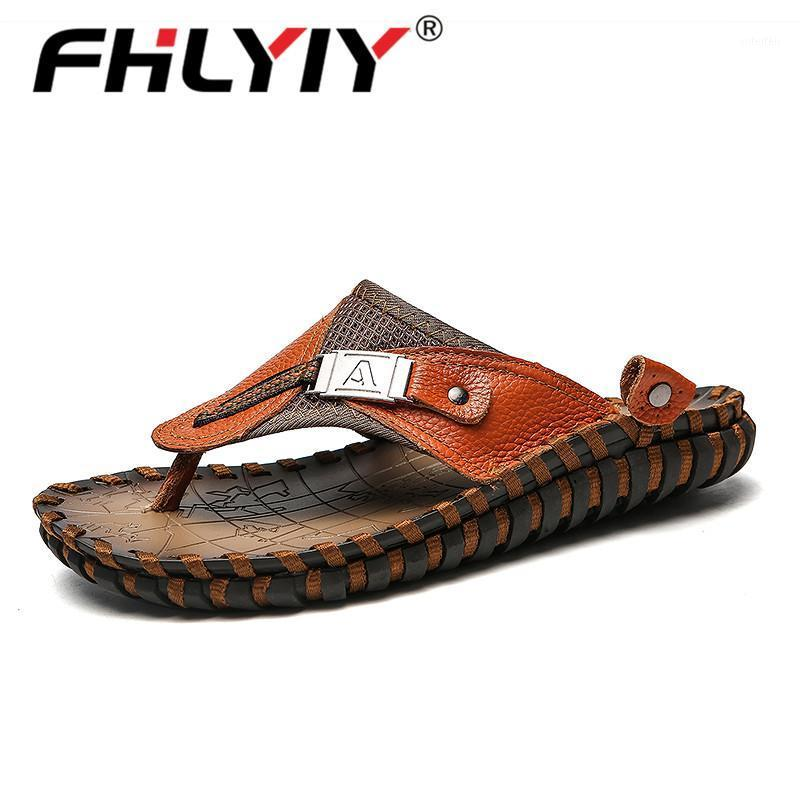 Pantofole in vera pelle da uomo Pantofole all'aperto Flip flops uomo Slipper Chanclas Hombre Summer Shoes New 2020 Casual Mens Pantofole Big Size1