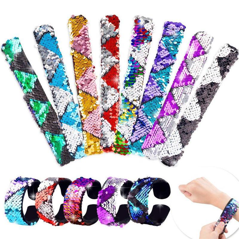 Parti Favors için Payet Denizkızı Bilezik Glitter tokat Kemer Bilek Kayışı İki Renkli Clap Halka çekin Döner Dekoratif Charm Hediye
