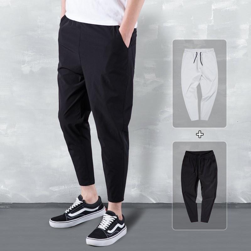 Шелковая дышащие 2020 Летней Слаксы Мужчина Сыпучего Air Conditioning Мужских брюки Девять Очки Stretch Pants больших ярды