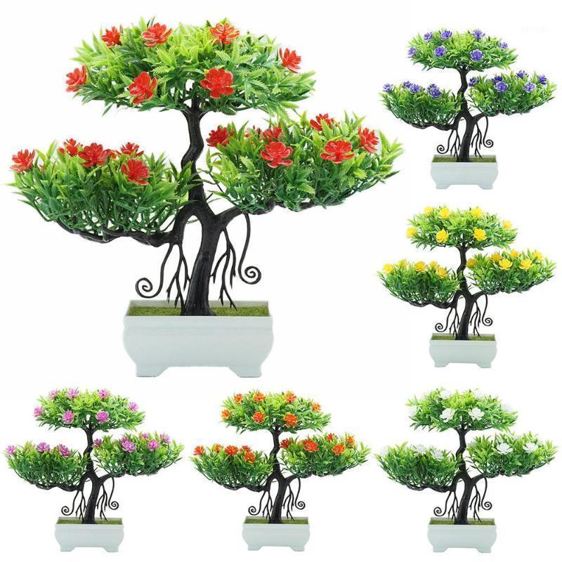 Flor artificial Planta Árbol Potted Bonsai Flowers Flowers Potted Ornaments Para Office Garden Party Desktop Ornament Decoration1