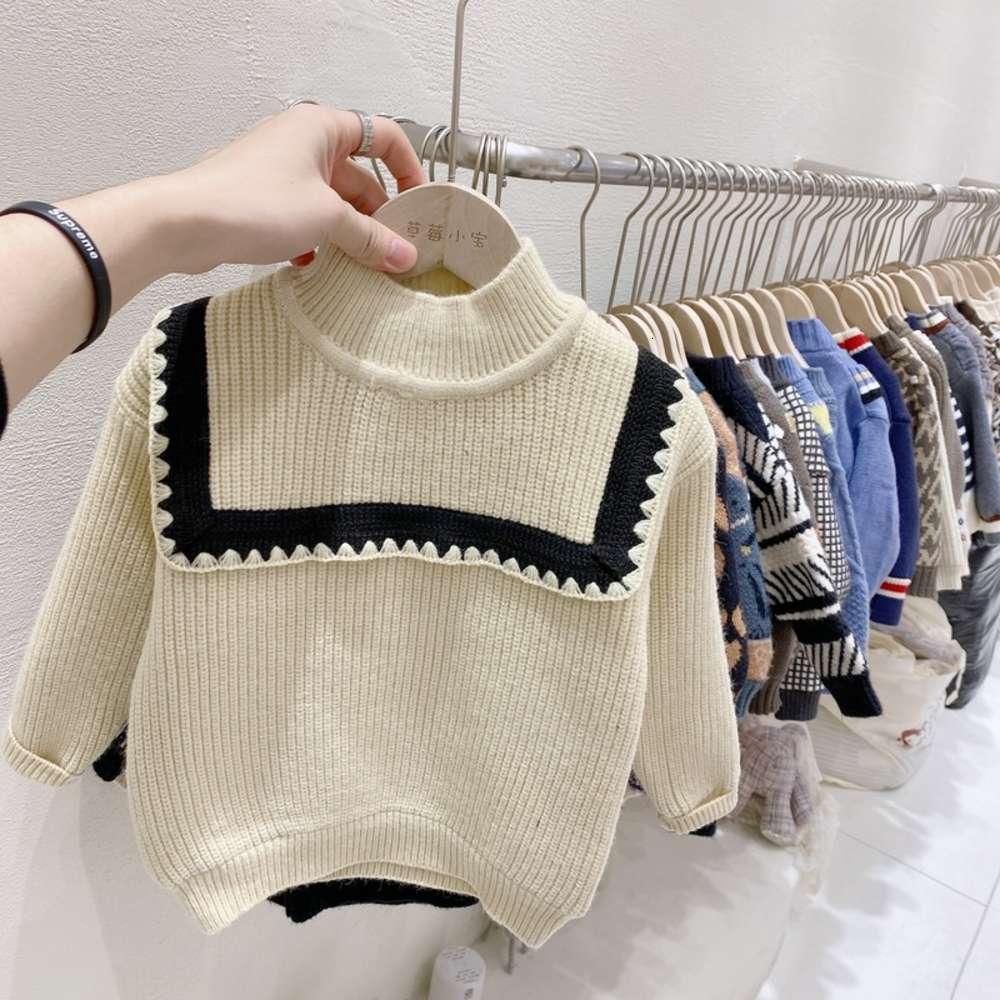 Зимняя одежда 2020 клубника новая новая Xiaobao девушка большой воротник пуловер среднего ребенка плюшевый свитер