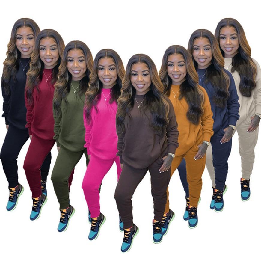 Donne semplici Tracksuits Outfits Joggers Felpa con cappuccio + Pantaloni 2 pezzi Set manica lunga Sportswear Autunno Abbigliamento invernale Abbigliamento Sweatsuits 4185