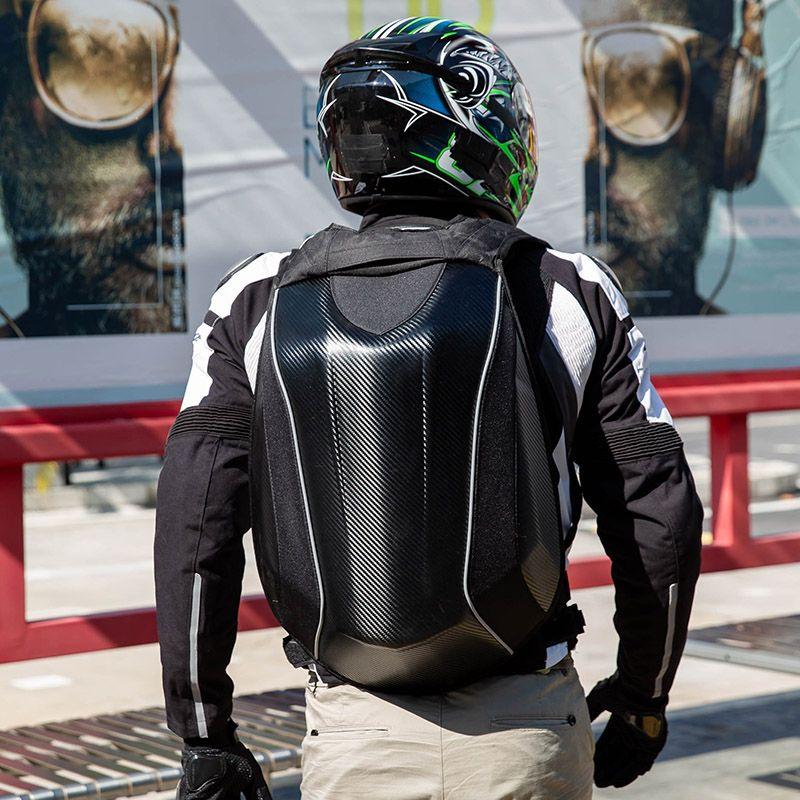 Мотоцикл рюкзак жесткий волокна мотоцикл рюкзак углеродные мужчины оболочки водонепроницаемый шлем мешок плечо qwkck