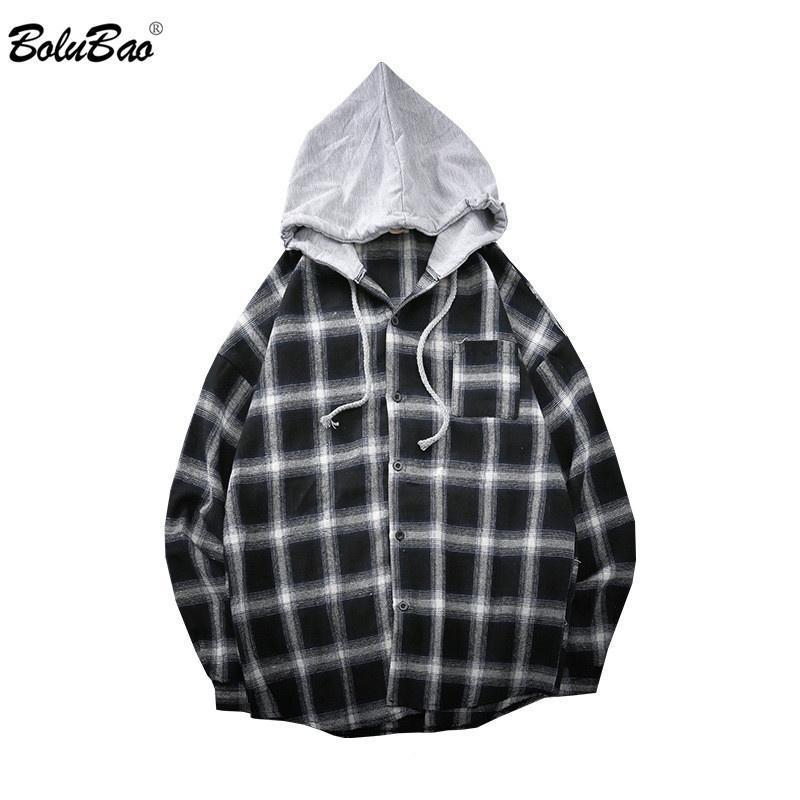 Männer Casual Hemden Bolubao Mode Marke Herren Plaid Hemd Frühling Harajuku Stil Männliche Kapuze Langarm Tops