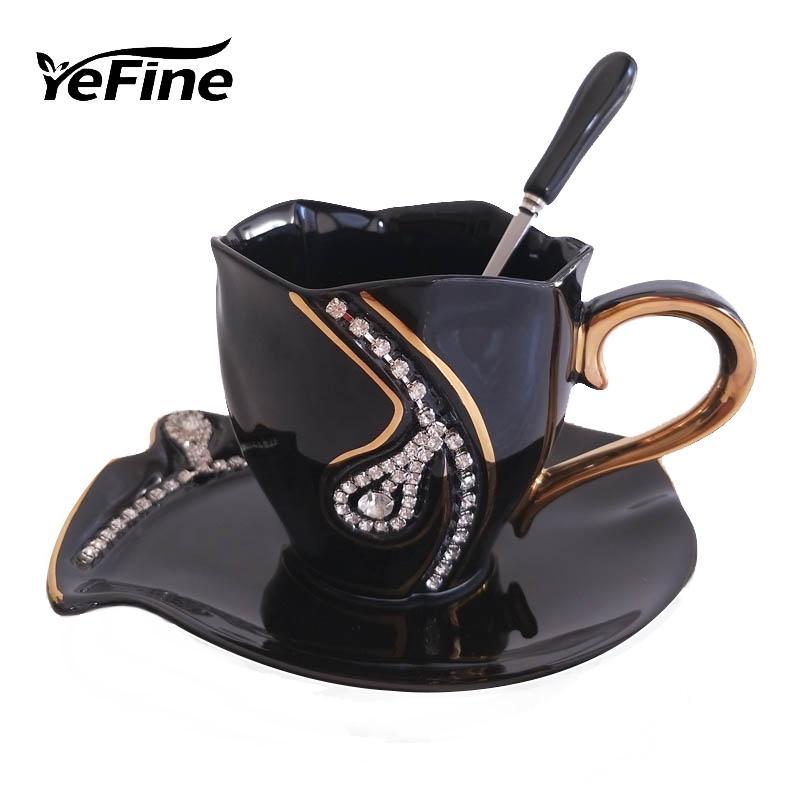 YEFINE Diamonds Design Coffee Mug Creative Gift Lovers Tea Cups 3D Ceramic Mugs With Rhinestones Decoration Cups And Saucers T200104