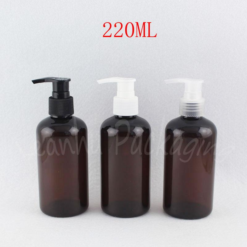 220ML Brown Plastic Bottle With Lotion Pump , 220CC Empty Cosmetic Container / Shower Gel Packaging