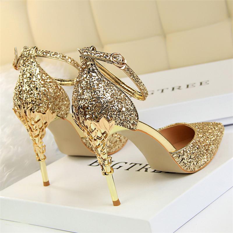 2020 mujeres de lujo de verano sexy metal 9.5 cm tacones altos sandalias diseñador brillo bling bombas lentejuelas bodas sandles zapatos nupciales