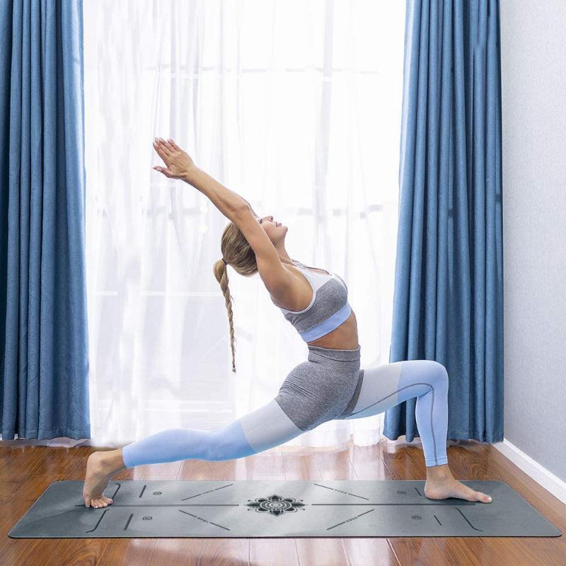 Maty jogi 183 * 68 cm Brązowanie Zagęszczona mat Szary PU gumowe sporty i fitness Pilates z ćwiczeniem linii pozycji