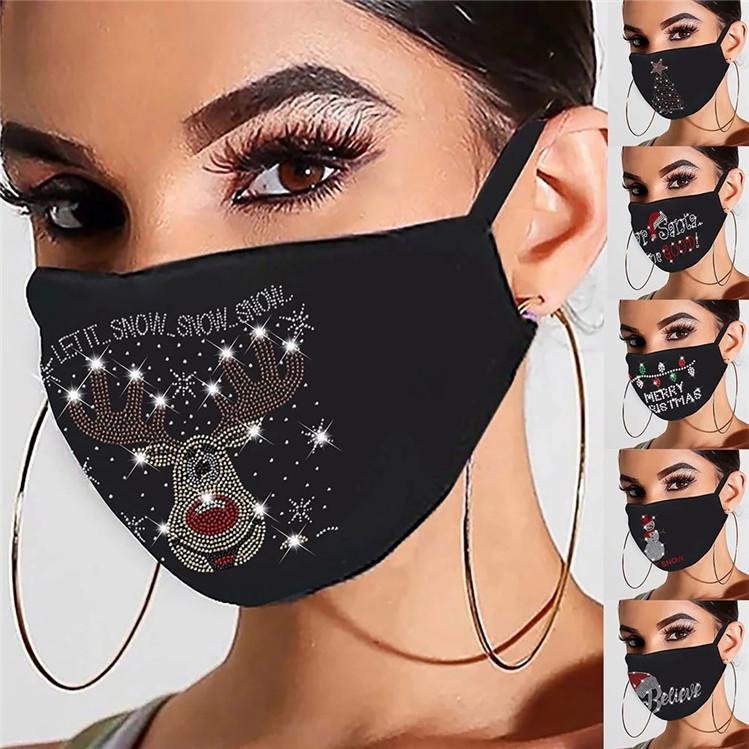 2021 Дизайнер Тушь Masque Рождество Женщина многоразовая Открытый Drill дышащая Мода хлопок ветрозащитная маска повязка FY9276