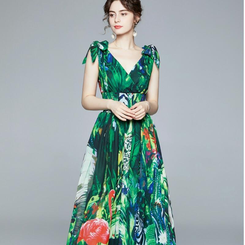 2020 Новое поступление взлетно-посадочная полоса женские летние плюс размер длинные платья эластичная талия глубокие V-образные вырезывающие лес животное печать шифон праздник Maxi платья