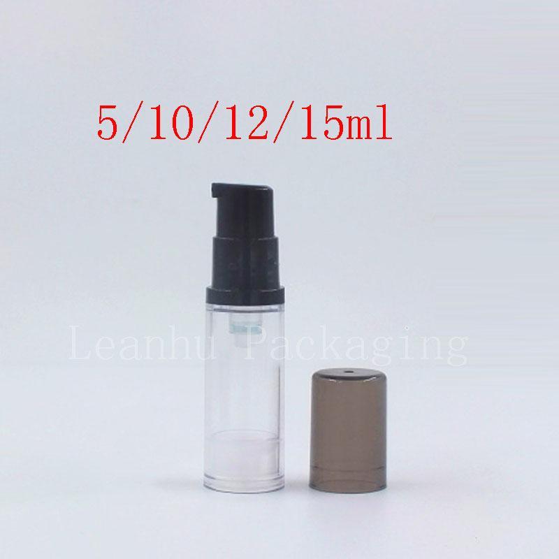 Pequeño Negro vacío bomba sin aire botella de presión Tubo Emulsión viaje Botellas muestras Loción Crema envase cosmético
