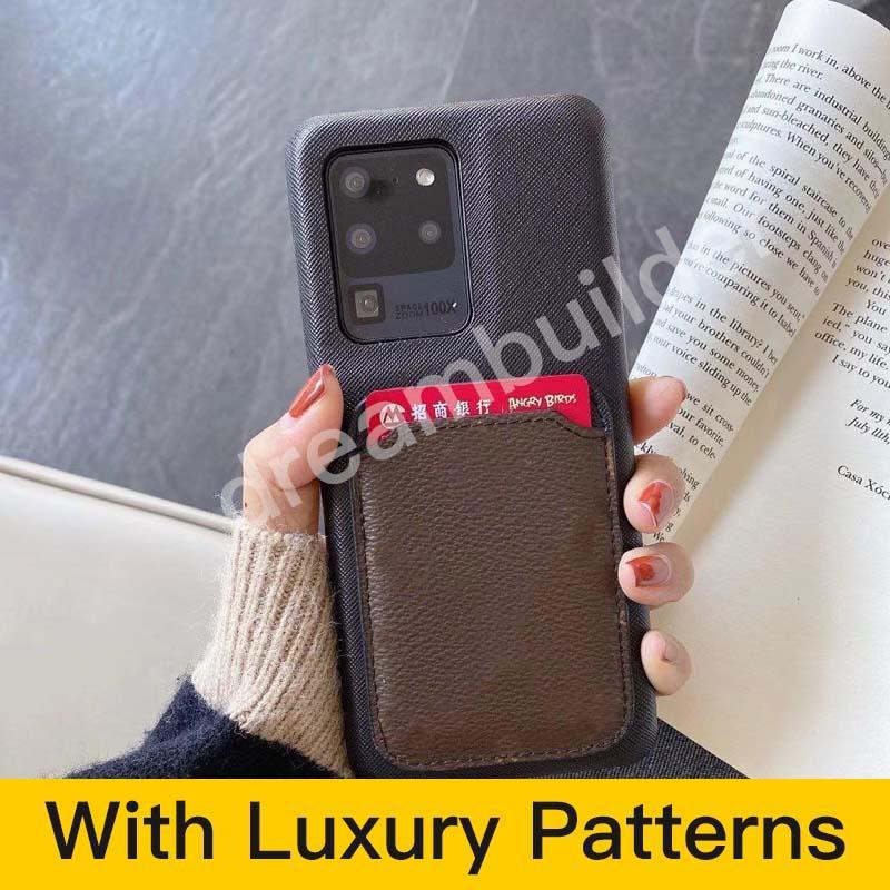 Casos de telefone de moda para iphone 12 pro max 11 7 8 mais x xr xs max com cartão de volta cartão para samsung galaxy s10p s20 s20u nota 10 20 u