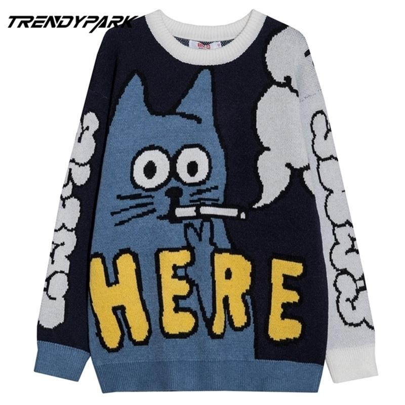 Мужчины свитер забавный курение кошка узор хип-хоп уличная одежда акриловые хараджуку постерегальщики негабаритные пуловеры осени осенью мужские свитера 201221