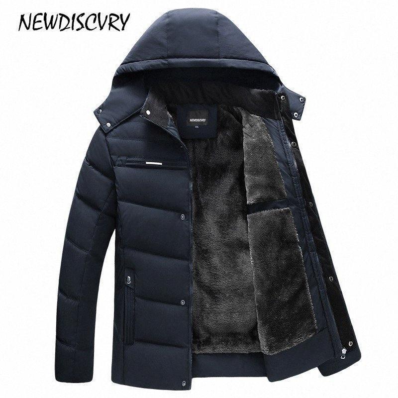 NEWDISCVRY Männer Kapuzen Parka Winter-Mann-Jacke Wasserdicht 2018 Dickes Fleece Warm Männer Mantel-beiläufige Mantel Männerkleidung Outwear 98et #