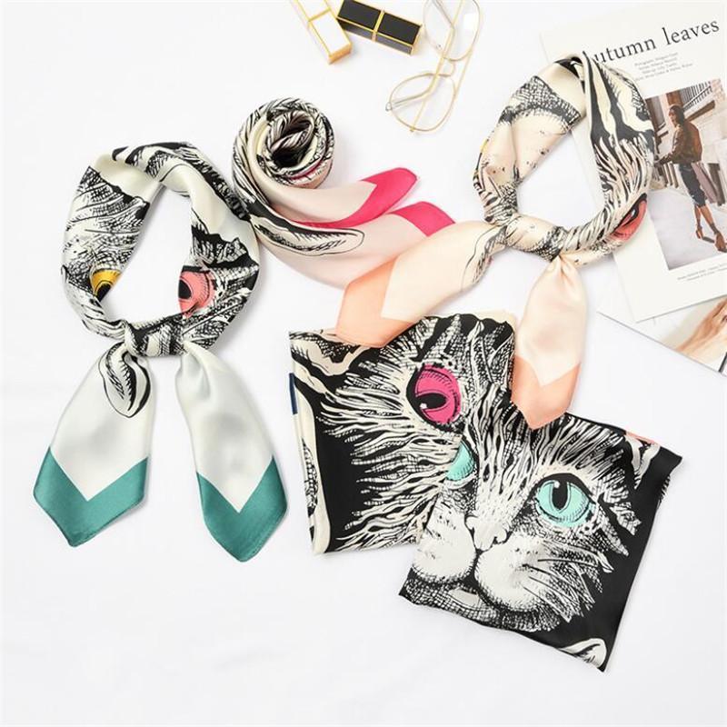 70x70cm mujeres de huella de huellas de seda de las mujeres Dibujos animados lindo gato bufanda cuadrada para la niña de la hembra diadema bufanda cuello corbata desgaste 39 estilos bufandas