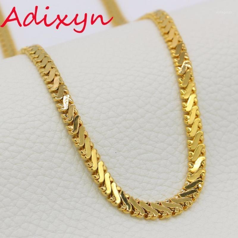 Adixyn Uzun Link Zinciri Kolye Altın Renk 6mm Vintage Rapçi Kadınlar Için Hippi Hip Hop Zinciri / Erkekler Jewelry1