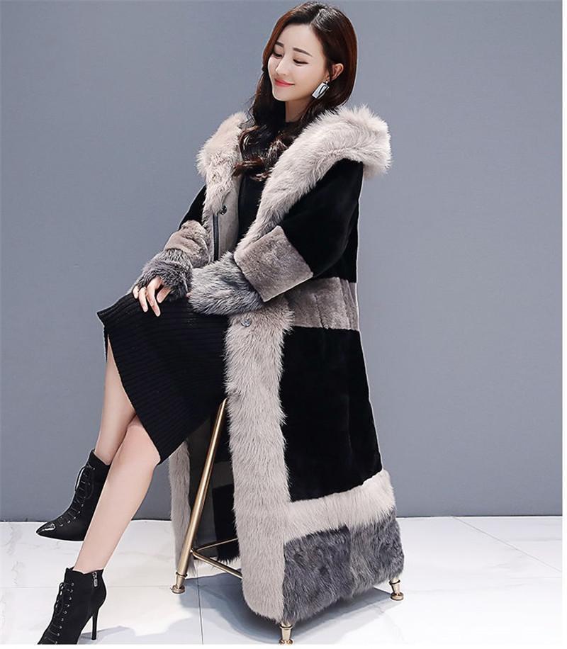 Женский меховой FUX 2021 зимняя одежда с капюшоном женская мода плюс размер длинного пальто высокого класса теплый пиджак женский парк A482