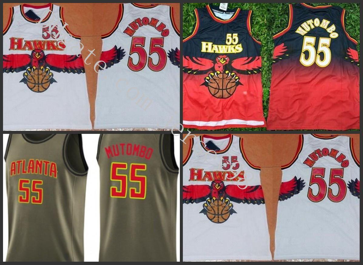 NCAA AtlantaFaucadeHommes # 55 Dikembe mutombo blancNBA Hommes Jersey vert