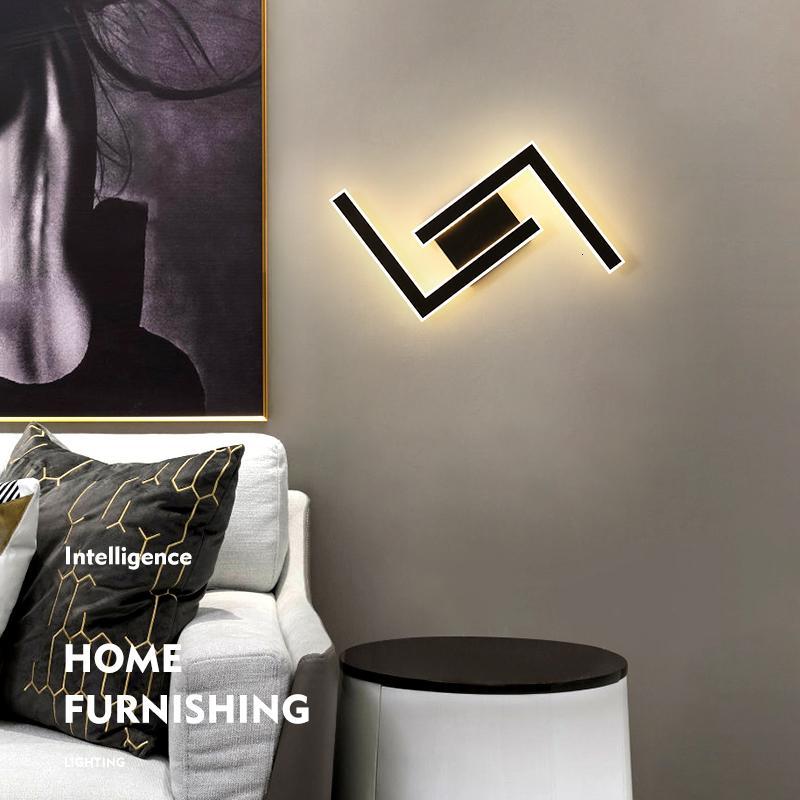 2021 NUEVO Muro LED nórdico para el dormitorio Negro moderno en la sala de estar Corredor de iluminación interior Creatividad Inicio Deco RSG6