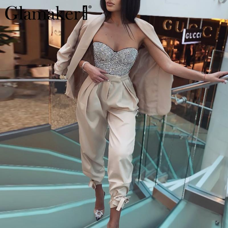 Glamaker Two piece set sexy blazer suits Women lace up casual top and pants Office ladies fashion streetwear female co ord set 201009