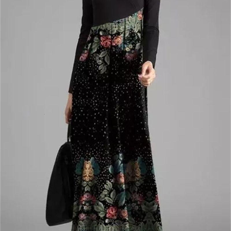 Vestido largo de la impresión de la impresión del color de la funda de la nueva falda de la nueva mujer de la primavera