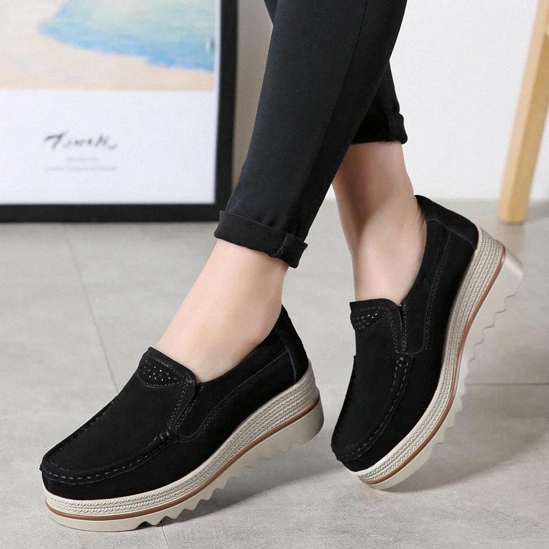 Creepers Donne scarpe da donna piattaforma piattaforma scarpe nere donne casual lace-up tondo punta di punta femmina # 992r