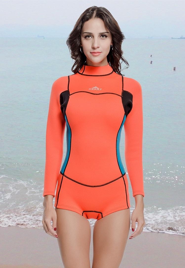 Kalınlaşmak Uzun Kollu Tek Parça 2mm Neopren Kite Surf Dalış Tüplü Wetsuits Dalgıç Giysisi Kadınlar Yüzme Mayo Mayo