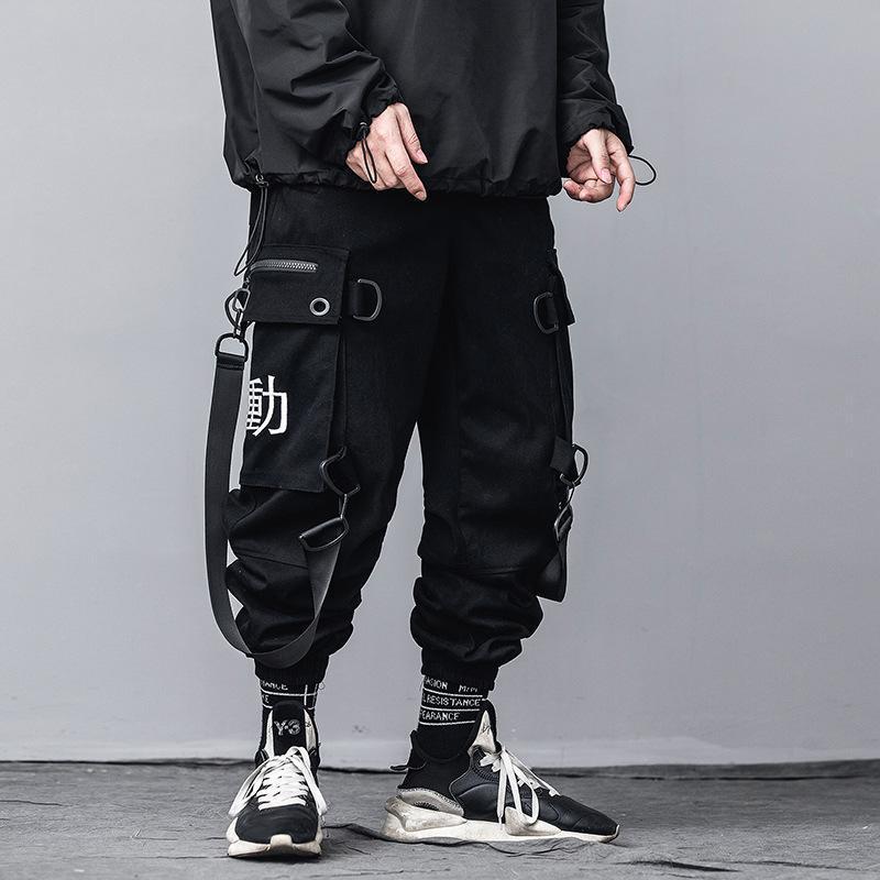 Streetwear Kpop Joggers Hommes Hip Hop Pantalons vêtements de style coréen de mode Cargo Pants Casual Techwear Pantalon noir Harem