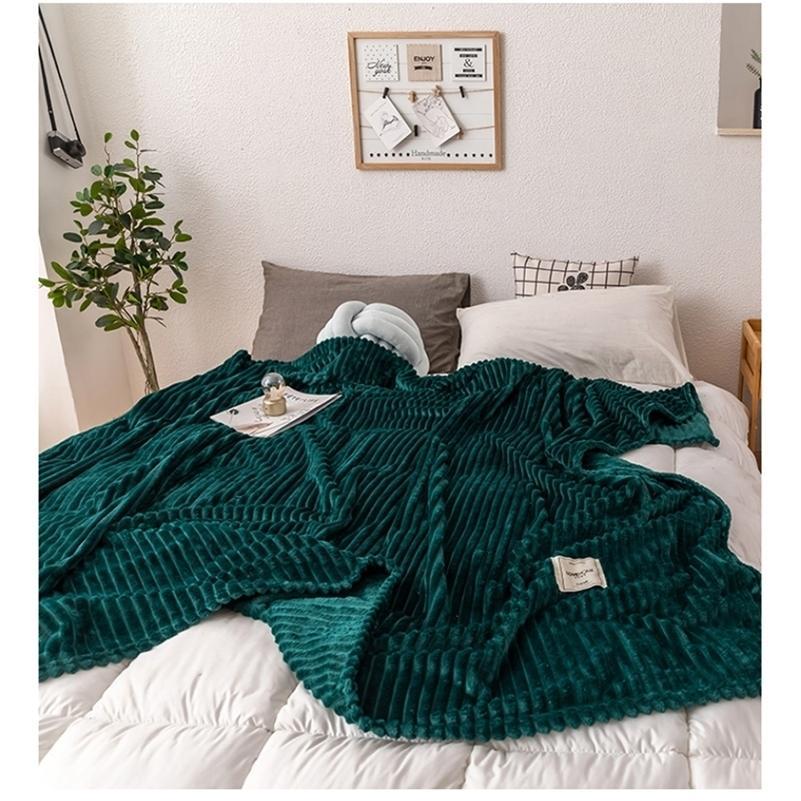 Одеяла для кроватей Сплошные желтые зеленые цветные мягкие теплые фланелевые одеяло на толщине кровати бросают одеяло 201111