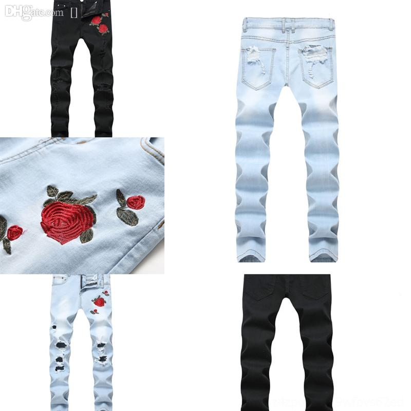 Eegze High Street Auto Jeans Light Craft Herren Ripped Jeans Fit Casual Stretch Men Denim Hosen Point Bleichen Gerade Slim Jeans