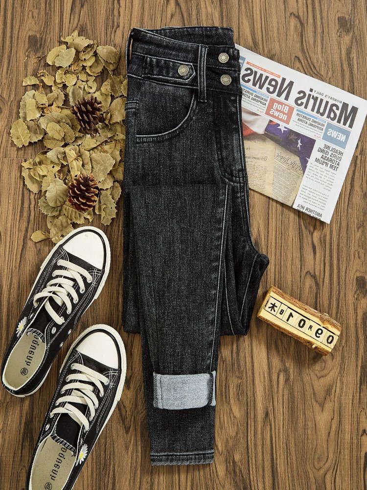Calças de brim da cintura ultra alta mulher feminina outono e inverno preto magro pequeno pé pelúcia pants em 2020