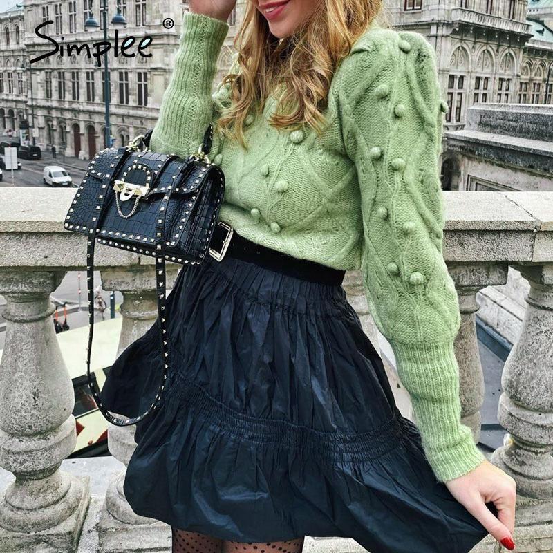 Simplee las mujeres de cuello alto suéter de bolas de pelo Casual Otoño manga farol de invierno jersey de punto jersey de las señoras mujeres Streetwear