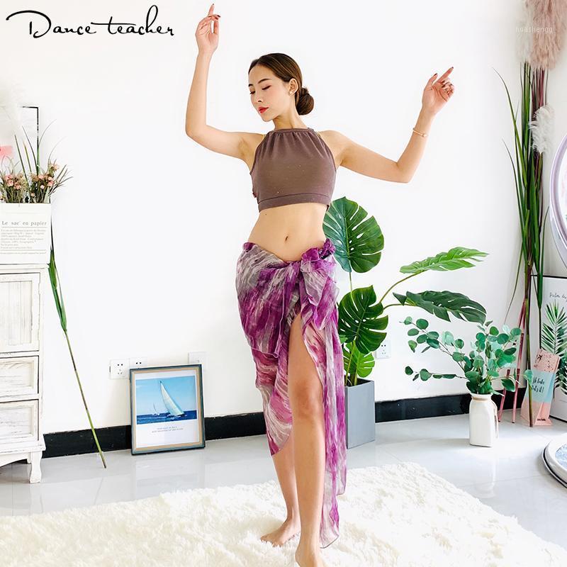 Сцена носить танцулью живота талия юбка практика одежда ориентированная бедра шарф платье шифон женщина сексуальная удобная 145 + 1461