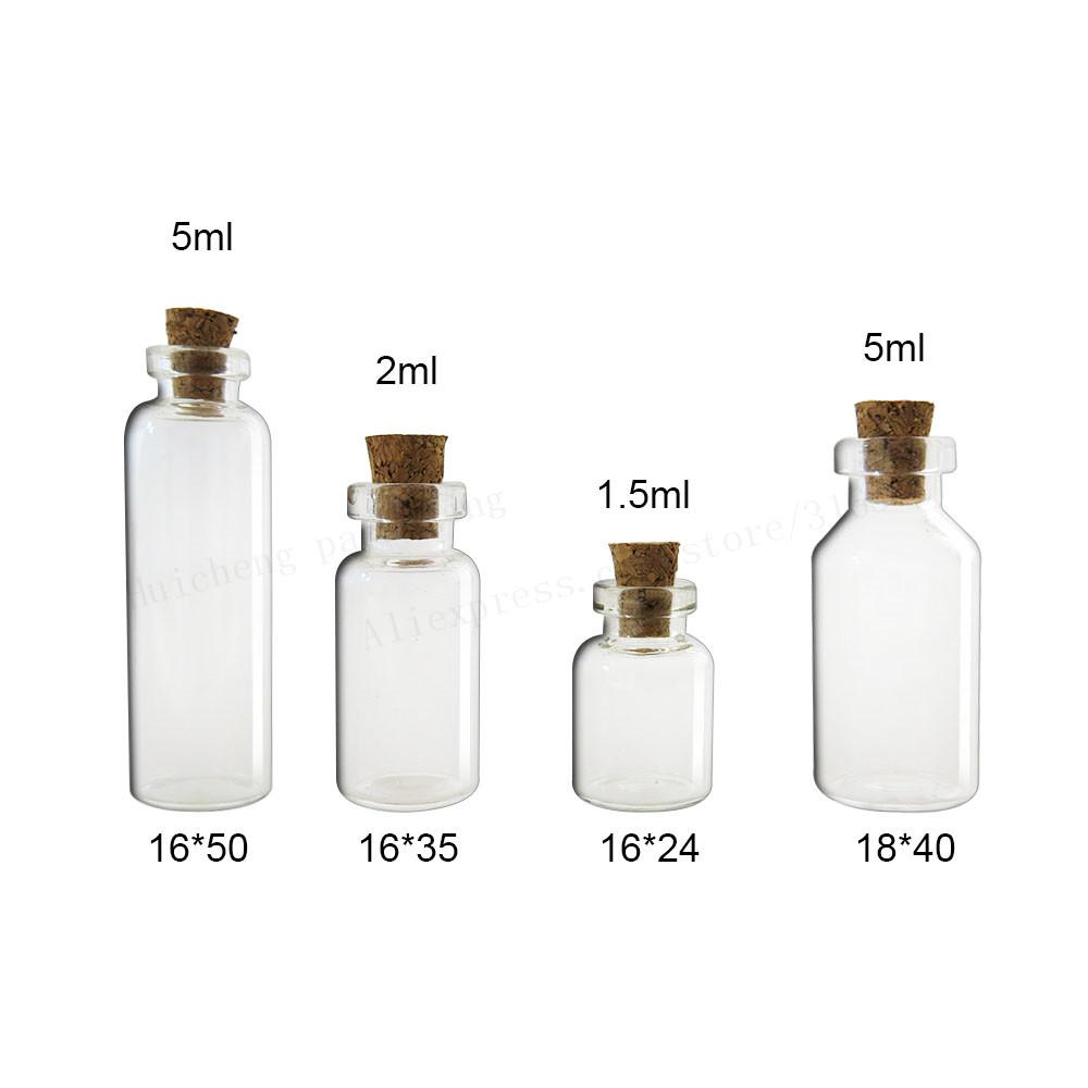 500 x 1.5ml 2 ml 5 ml Mała butelka szkła z Cork 1.5CC Próbki Fiolki MIINI Display Containers