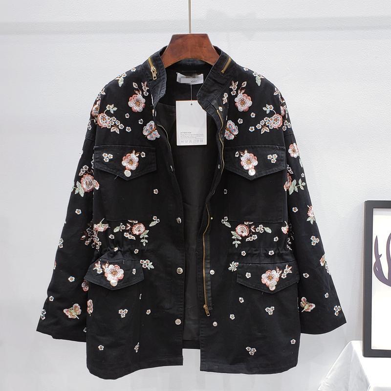 Primavera e autunno 2021 New Fashion Ricamo perline perline Draw Rope Vita a vento Giacca donna giacca donna