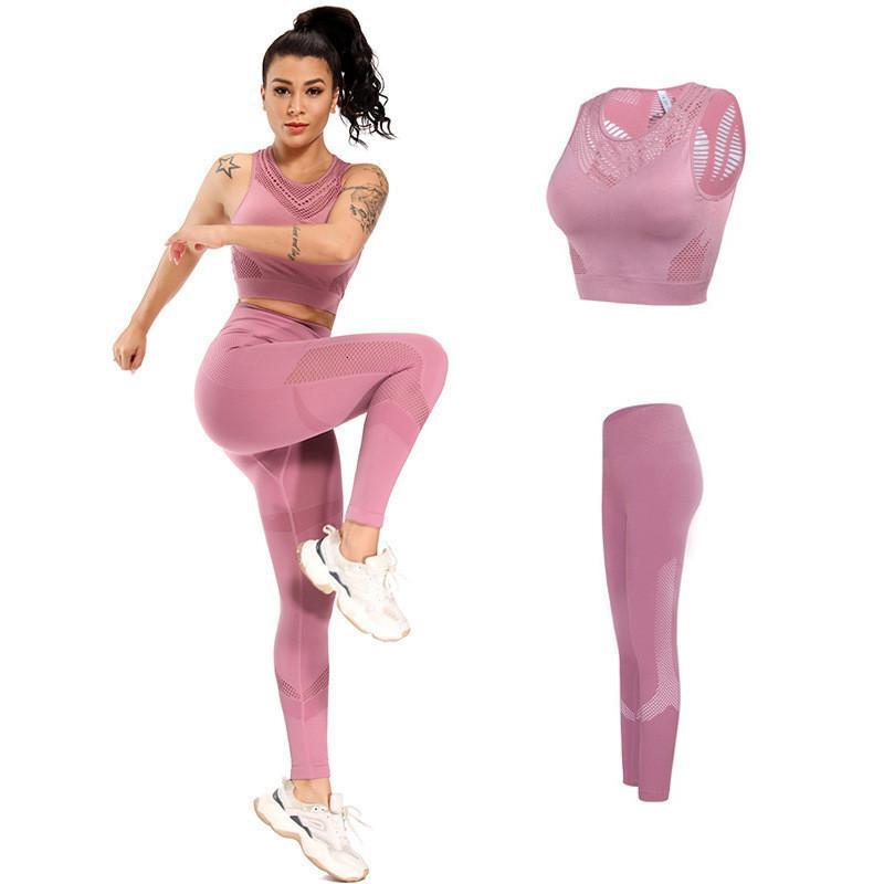 Séance d'entraînement de costumes Ensembles de sport Sport Vêtements Wear Gym pour les femmes Fitness Course Gilet + leggings Yoga Set Respirant