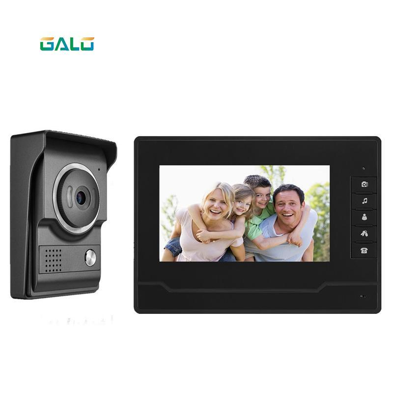 Téléphones de porte vidéo Intercom 7''Inch Téléphone câblé Visual Soorbell Moniteur Kit de caméra pour la sécurité domestique
