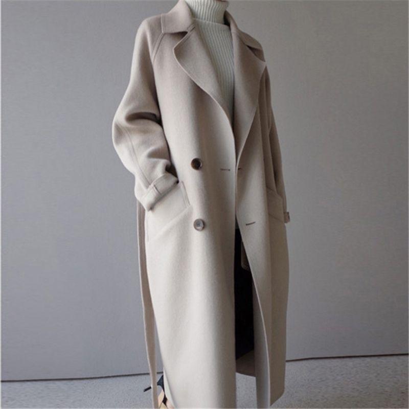 Осень зима стройное длинное пальто женщин повседневная двубортное шерстяное пальто женское корейский элегантный офис леди overisze outwood 201102
