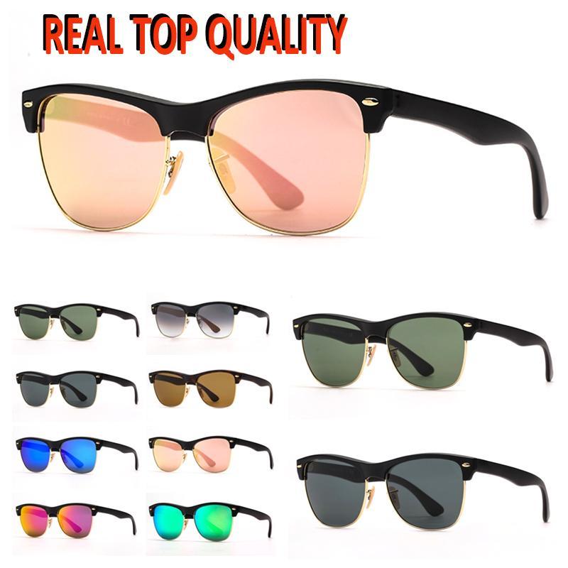 Ray Fashion Sunglasses Glasses Glass Oversized Ray Sunglasses Brille Sole UV Mens Pelle Vintage Protezione vintage Caso Lenti Classico con vetro JBTE