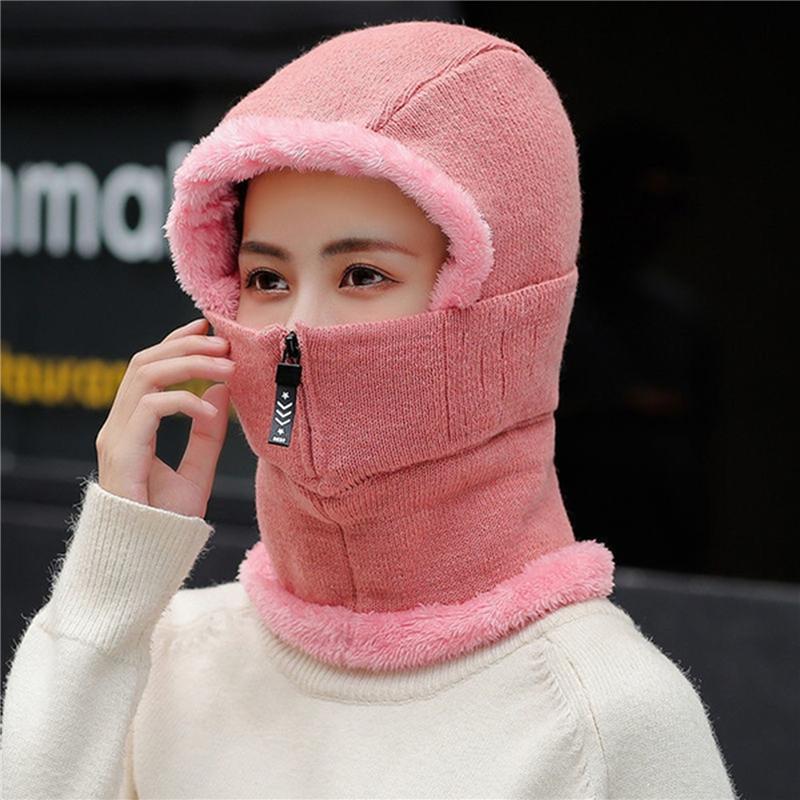 Caps Caps Maski Maski Zimowe Panie pierścień Kapelusz z pełną maską Wiatroodporna Kobiety Kapelusze Pluszowe Oddychające Oddychające Zamek Kreatywny Kreatywnie Outdoor Facemask