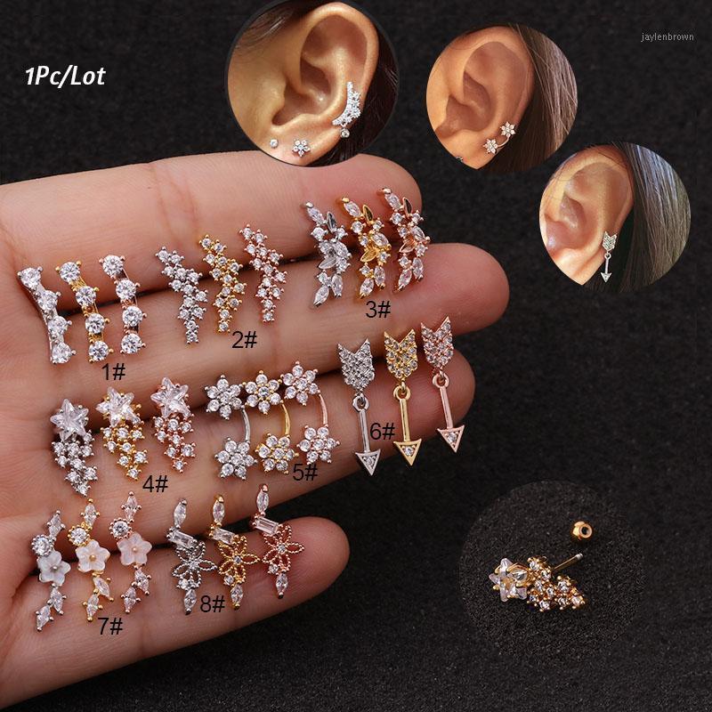 Piercing Jewelry Conch Tragus Ear Stud Stud Rosa oro cartilagine di colore orecchino1