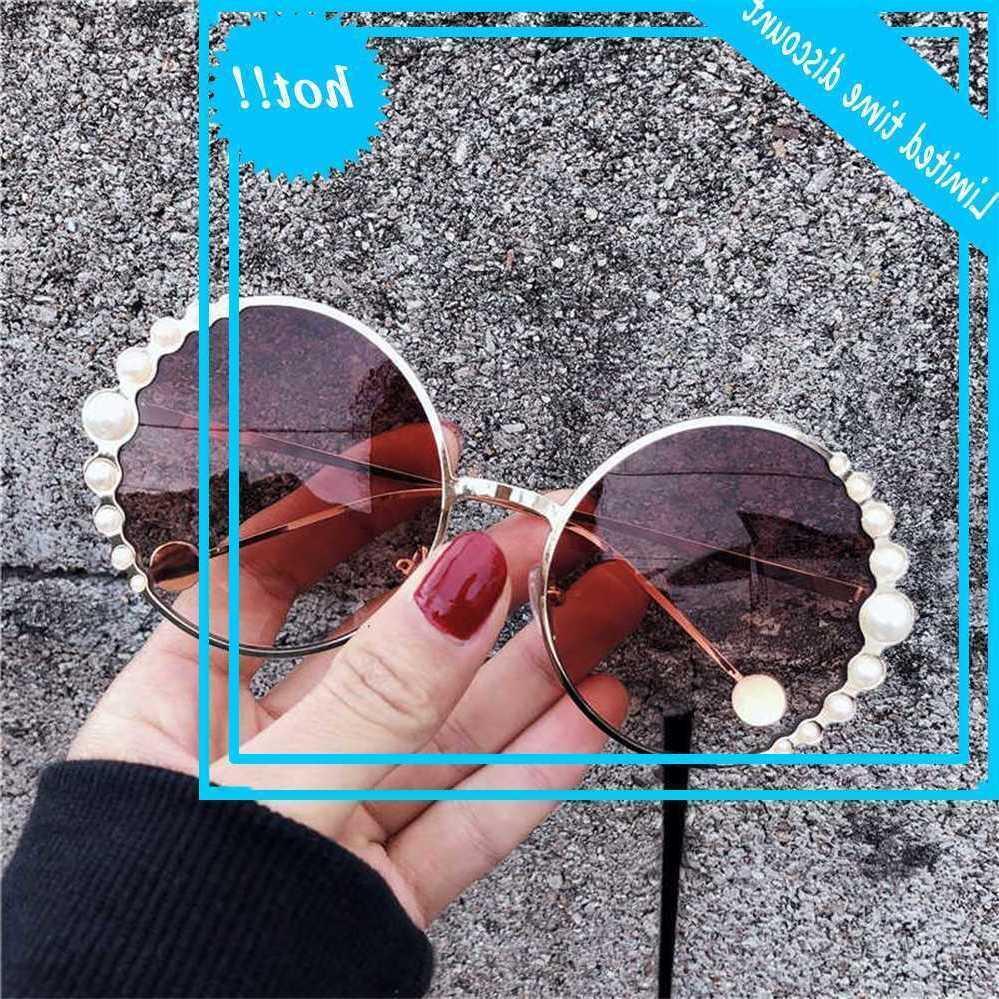 2020 NEUE NET rot Gradual Change Gläsern Runde Anti ultraviolett Tide Dekorative Perle Große Rahmen Sonnenbrille