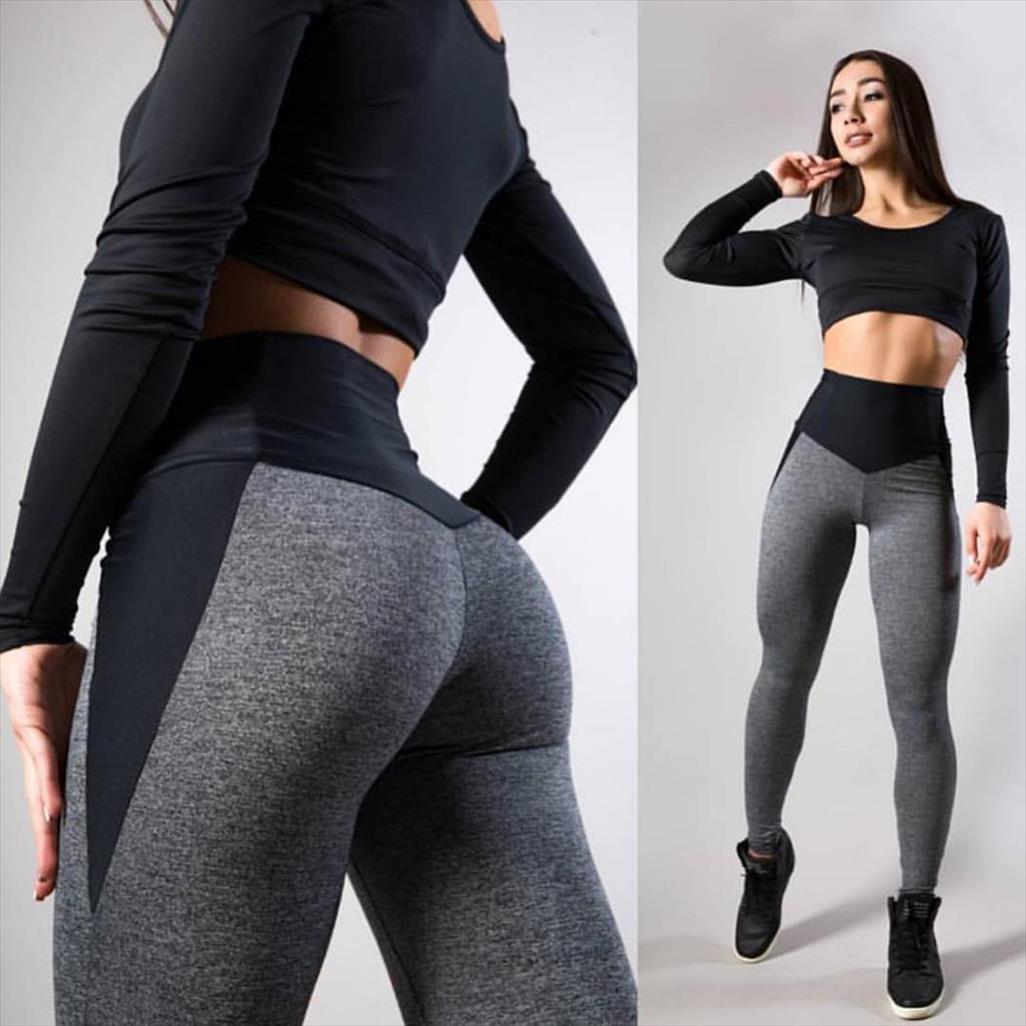 Cintura alta sem costura calças de treino Sports Leggings Para Womens impulso Magro Gym Fitness-se de Inverno Corrida Leggings L20