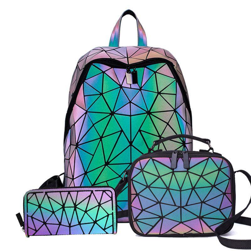 Luminous Backpacks Women Geometric 14inch Laptop Shoulder bao bag Backpack Holographic Rucksack Female Trave School Q1113