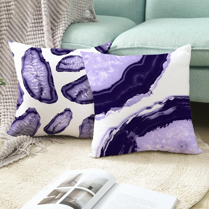serie geometria pesca viola pelle peluche cuscino caso ins stile nordico prodotti divano quadrato federa domestico